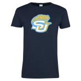 Ladies Navy T Shirt-SU w/ Jaguar