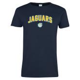 Ladies Navy T Shirt-Arched Jaguars