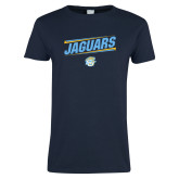 Ladies Navy T Shirt-Slanted Jaguars w/ Logo