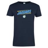 Ladies Navy T Shirt-Slanted Jaguars w/ Logo