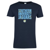 Ladies Navy T Shirt-Southern University Jaguars Stacked