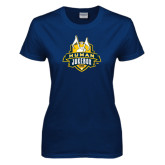 Ladies Navy T Shirt-The Human Jukebox Official Mark