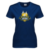 Ladies Navy T Shirt-The Human Jukebox Official Mark Distressed
