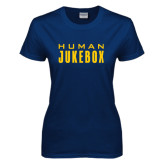 Ladies Navy T Shirt-Human Jukebox Wordmark