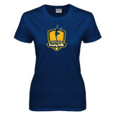 Ladies Navy T Shirt-Fabulous Dancing Dolls Official Mark