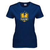 Ladies Navy T Shirt-Fabulous Dancing Dolls Official Mark Distressed