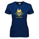 Ladies Navy T Shirt-The Human Jukebox - Alumni