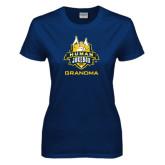 Ladies Navy T Shirt-The Human Jukebox - Grandma
