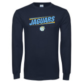 Navy Long Sleeve T Shirt-Slanted Jaguars w/ Logo