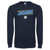 Navy Long Sleeve T Shirt-Slanted Jaguars w/ Logo