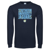 Navy Long Sleeve T Shirt-Southern University Jaguars Stacked
