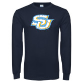 Navy Long Sleeve T Shirt-Interlocking SU Distressed
