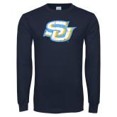 Navy Long Sleeve T Shirt-Interlocking SU Distressed