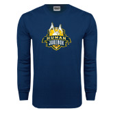 Navy Long Sleeve T Shirt-The Human Jukebox Official Mark Distressed