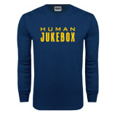 Navy Long Sleeve T Shirt-Human Jukebox Wordmark