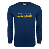 Navy Long Sleeve T Shirt-Fabulous Dancing Dolls Wordmark