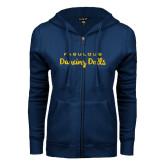 ENZA Ladies Navy Fleece Full Zip Hoodie-Fabulous Dancing Dolls Wordmark
