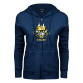 ENZA Ladies Navy Fleece Full Zip Hoodie-The Human Jukebox - Mom