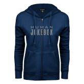 ENZA Ladies Navy Fleece Full Zip Hoodie-Human Jukebox Wordmark Glitter