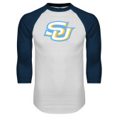 White/Navy Raglan Baseball T-Shirt-Interlocking SU