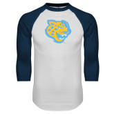 White/Navy Raglan Baseball T-Shirt-Jaguar Head