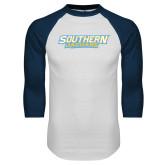 White/Navy Raglan Baseball T-Shirt-Southern Jaguars