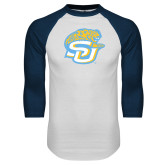 White/Navy Raglan Baseball T-Shirt-SU w/ Jaguar