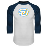 White/Navy Raglan Baseball T-Shirt-Interlocking SU Distressed