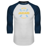 White/Navy Raglan Baseball T-Shirt-Jaguars Baseball w/ Seams