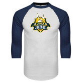 White/Navy Raglan Baseball T-Shirt-The Human Jukebox Official Mark