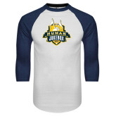 White/Navy Raglan Baseball T-Shirt-The Human Jukebox Official Mark Distressed