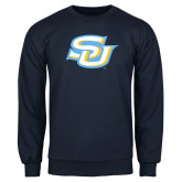 Navy Fleece Crew-Interlocking SU