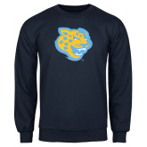 Navy Fleece Crew-Jaguar Head