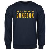 Navy Fleece Crew-Human Jukebox Wordmark