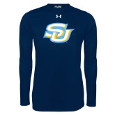 Under Armour Navy Long Sleeve Tech Tee-Interlocking SU