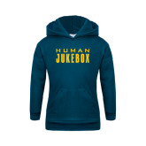 Youth Navy Fleece Hoodie-Human Jukebox Wordmark