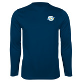 Performance Navy Longsleeve Shirt-Interlocking SU