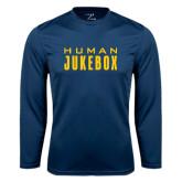 Syntrel Performance Navy Longsleeve Shirt-Human Jukebox Wordmark