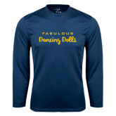 Syntrel Performance Navy Longsleeve Shirt-Fabulous Dancing Dolls Wordmark