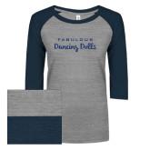 ENZA Ladies Athletic Heather/Navy Vintage Triblend Baseball Tee-Fabulous Dancing Dolls Wordmark Glitter