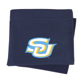 Navy Sweatshirt Blanket-Interlocking SU