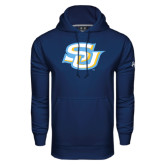 Under Armour Navy Performance Sweats Team Hoodie-Interlocking SU