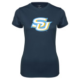 Ladies Syntrel Performance Navy Tee-Interlocking SU