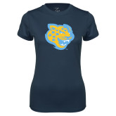 Ladies Syntrel Performance Navy Tee-Jaguar Head