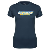 Ladies Syntrel Performance Navy Tee-Southern Jaguars