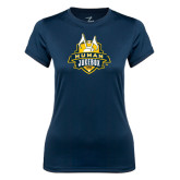 Ladies Syntrel Performance Navy Tee-The Human Jukebox Official Mark