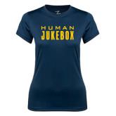 Ladies Syntrel Performance Navy Tee-Human Jukebox Wordmark