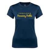 Ladies Syntrel Performance Navy Tee-Fabulous Dancing Dolls Wordmark