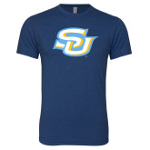 Next Level Vintage Navy Tri Blend Crew-Interlocking SU
