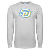 White Long Sleeve T Shirt-Interlocking SU